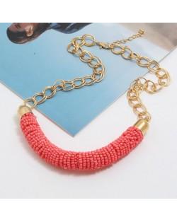 Bohemian Fashion Mini-beads Arch Pendant Bold Chain Women Statement Necklace - Pink