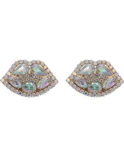 Rhinestone Embellished Lips Design Women Statement Earrings - White