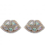 Rhinestone Embellished Lips Design Women Statement Earrings - White