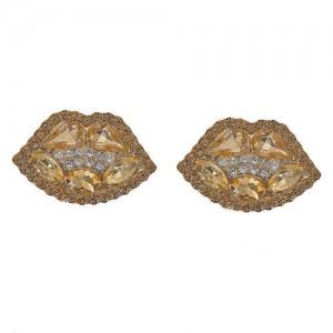 Rhinestone Embellished Lips Design Women Statement Earrings - Champagne