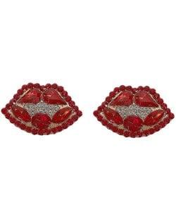 Rhinestone Embellished Lips Design Women Statement Earrings - Red
