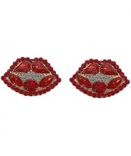 Rhinestone Embellished Lips Design Women Statement Earrings - Red