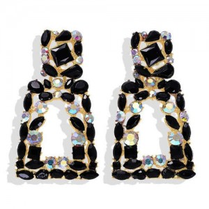 Elegant Rhinestone Geometric Design Women Fashion Earrings - Black