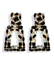 Elegant Rhinestone Geometric Design Women Fashion Earrings - Black
