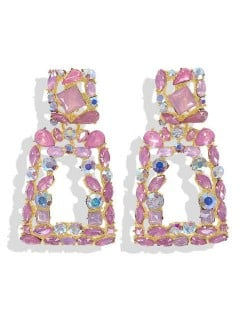 Elegant Rhinestone Geometric Design Women Fashion Earrings - Pink