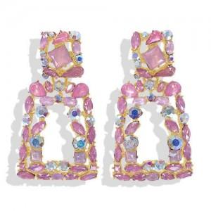 Elegant Rhinestone Geometric Design Women Fashion Earrings - Pink