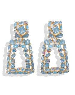 Elegant Rhinestone Geometric Design Women Fashion Earrings - Blue