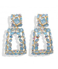 Elegant Rhinestone Geometric Design Women Fashion Earrings - Blue