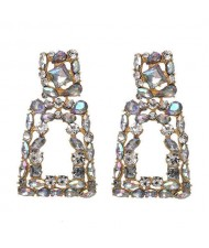 Elegant Rhinestone Geometric Design Women Fashion Earrings - Colorful White
