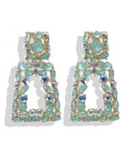 Elegant Rhinestone Geometric Design Women Fashion Earrings - Green