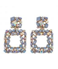 Shining Rhinestone Square Design Women Fashion Statement Earrings - Blue
