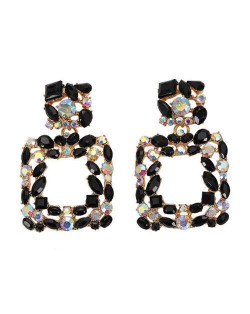 Shining Rhinestone Square Design Women Fashion Statement Earrings - Black