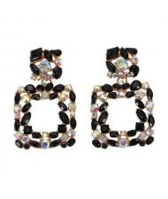 Shining Rhinestone Square Design Women Fashion Statement Earrings - Black