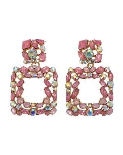 Shining Rhinestone Square Design Women Fashion Statement Earrings - Pink