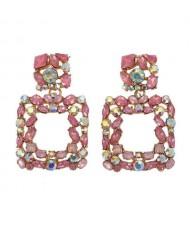 Shining Rhinestone Square Design Women Fashion Statement Earrings - Pink
