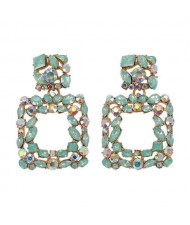 Shining Rhinestone Square Design Women Fashion Statement Earrings - Green