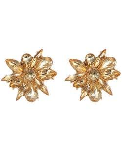 Glistening Rhinestone Flower High Fashion Women Statement Earrings - Champagne