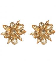 Glistening Rhinestone Flower High Fashion Women Statement Earrings - Champagne