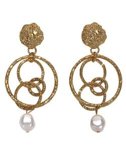 Artificial Pearl Decorated Linked Hoops Bold Fashion Women Earrings