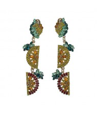 Rhinestone Fruit Theme Shining Fashion Women Statement Earrings - Yellow