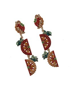 Rhinestone Fruit Theme Shining Fashion Women Statement Earrings - Red