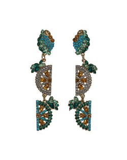 Rhinestone Fruit Theme Shining Fashion Women Statement Earrings - Blue