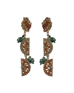 Rhinestone Fruit Theme Shining Fashion Women Statement Earrings - Orange