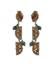 Rhinestone Fruit Theme Shining Fashion Women Statement Earrings - Orange