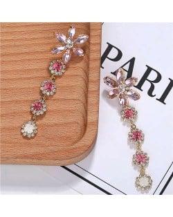 Rhinestone Cluster Tassel Elegant Flower Design High Fashion Women Earrings - Pink