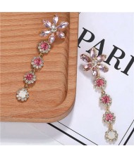 Rhinestone Cluster Tassel Elegant Flower Design High Fashion Women Earrings - Pink