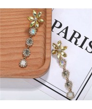 Rhinestone Cluster Tassel Elegant Flower Design High Fashion Women Earrings - Yellow