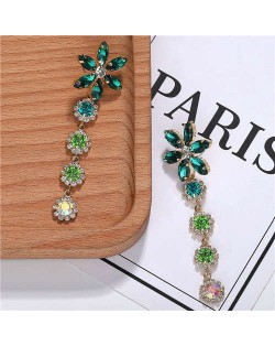 Rhinestone Cluster Tassel Elegant Flower Design High Fashion Women Earrings - Green