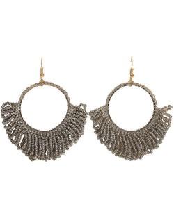 Mini Beads Tassel Bohemian Hoop Fashion Women Statement Earrings - Gray