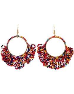 Mini Beads Tassel Bohemian Hoop Fashion Women Statement Earrings - Multicolor