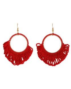 Mini Beads Tassel Bohemian Hoop Fashion Women Statement Earrings - Red