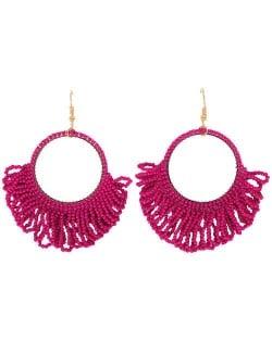 Mini Beads Tassel Bohemian Hoop Fashion Women Statement Earrings - Rose