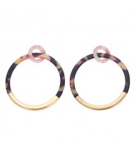Alloy and Acrylic Mixed Hoop Fashion Women Earrings - Black Colorful
