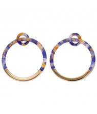 Alloy and Acrylic Mixed Hoop Fashion Women Earrings - Blue Colorful
