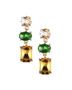 Linked Shining Gems Design High Fashion Women Costume Earrings - Green