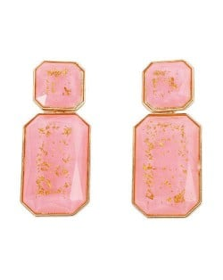 Resin Gem Square Shape Design Women Fashion Earrings - Pink