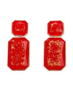 Resin Gem Square Shape Design Women Fashion Earrings - Red