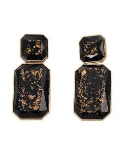 Resin Gem Square Shape Design Women Fashion Earrings - Black
