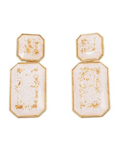 Resin Gem Square Shape Design Women Fashion Earrings - White
