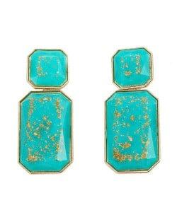 Resin Gem Square Shape Design Women Fashion Earrings - Blue