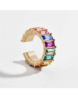 Colorful Gems Embellished High Fashion Women Ear Clip (1 piece)