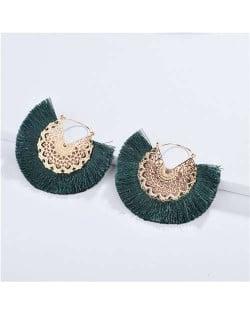 Cotton Threads Tassel Hollow Design Women Fashion Earrings - Ink Green