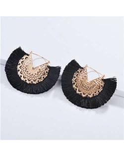 Cotton Threads Tassel Hollow Design Women Fashion Earrings - Black