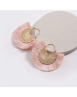 Cotton Threads Tassel Hollow Design Women Fashion Earrings - Pink