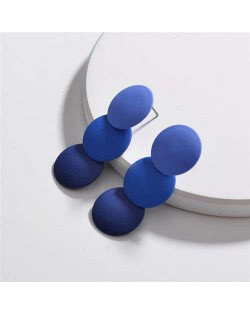 Painted Gradient Color Rounds Cluster Women Fashion Earrings - Blue