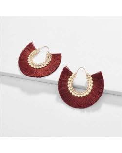 Cotton Threads Tassel Semi-circle Design High Fashion Women Earrings - Red Wine